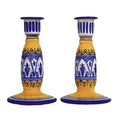 Hand Painted Ceramic Candle Sticks from Spain