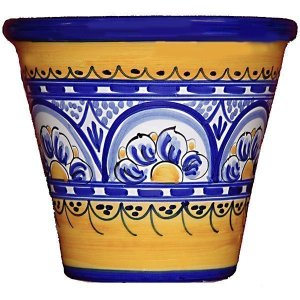 Hand painted Spanish ceramic garden pot
