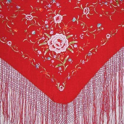 Red Embroidered Silk Manton from Spain