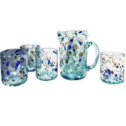 Hand blown glass pitcher and drink set