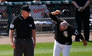Chicago White Sox manager Rick Renteria, right, slams his cap to the ground as he argues with first base umpire Paul Emmel, after Emmel signaled that Avisail Garcia committed his swing on a pitch for a strike out during the fifth inning of a baseball game against the Baltimore Orioles, Thursday, June 15, 2017, in Chicago. (AP Photo/Charles Rex Arbogast) ORG XMIT: CXS110