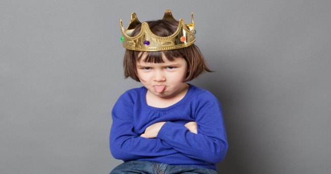 playful preschooler with cheeky attitude and mollycoddled kid crown