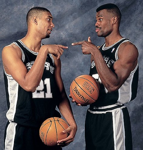 Tim Duncan and David Robinson late 90s early 2000s Spurs