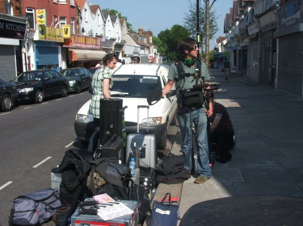 Setting up for outdoor shoot on The Shoe - How did I get into producing films? - Saranne Bensusan