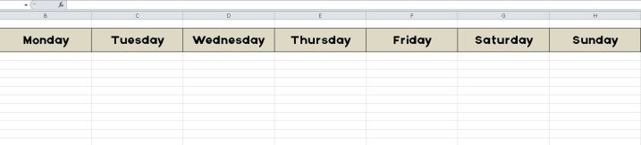 Example of Table with Days of the week