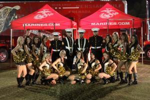 Sacramento Mountain Lion Cheerleaders with Marines