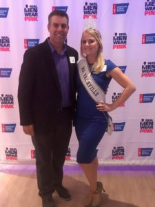 "Ms. Vacaville with Real Man Ambassador and ""Voice of the Sacramento Kings"" Scott Moak."