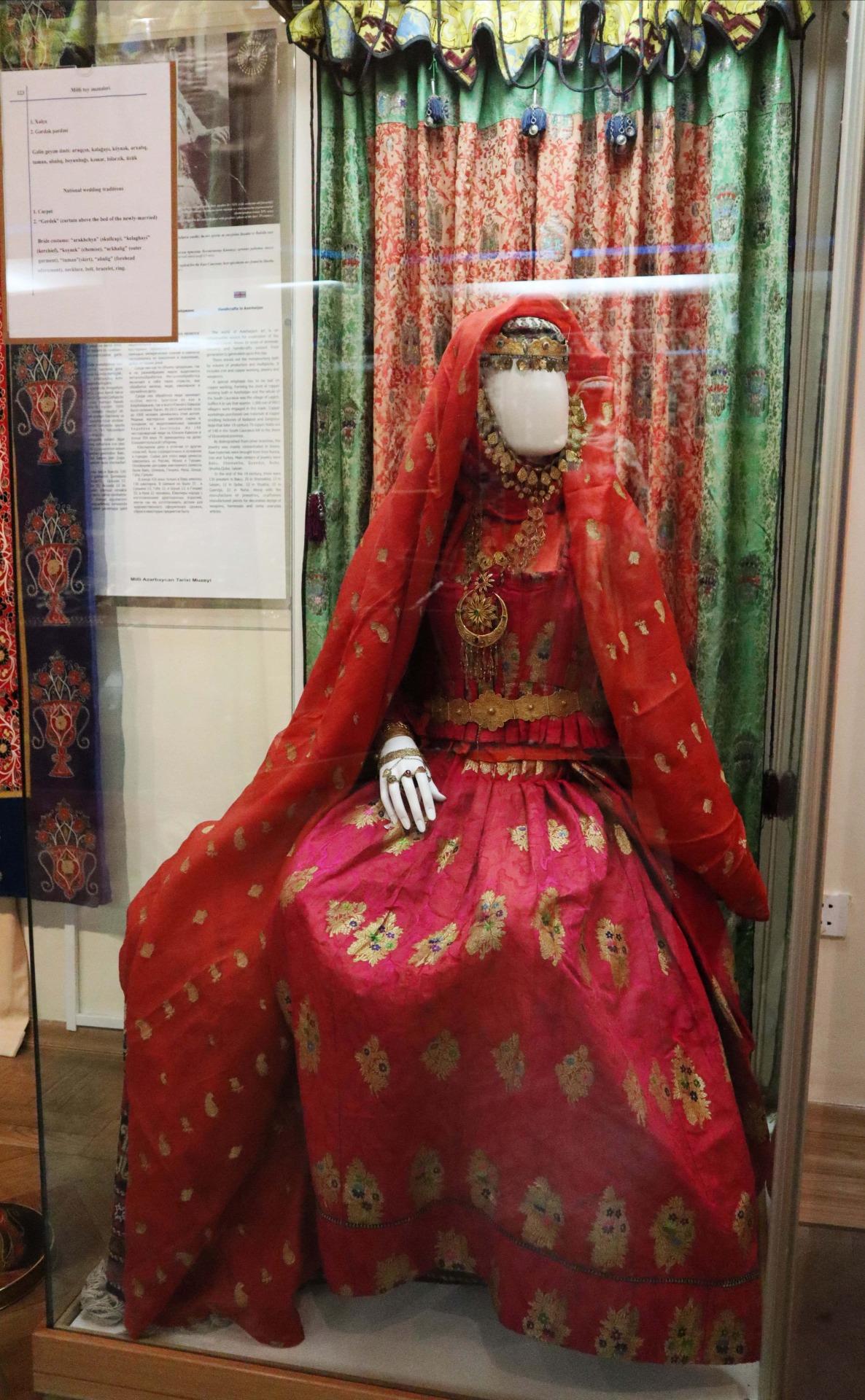 On display at the National Museum of History of Azerbaijan, a traditional Azerbaijani bridal dress.