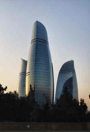 Baku's symbol and identity, the skyscraper trio called The Flame Towers.