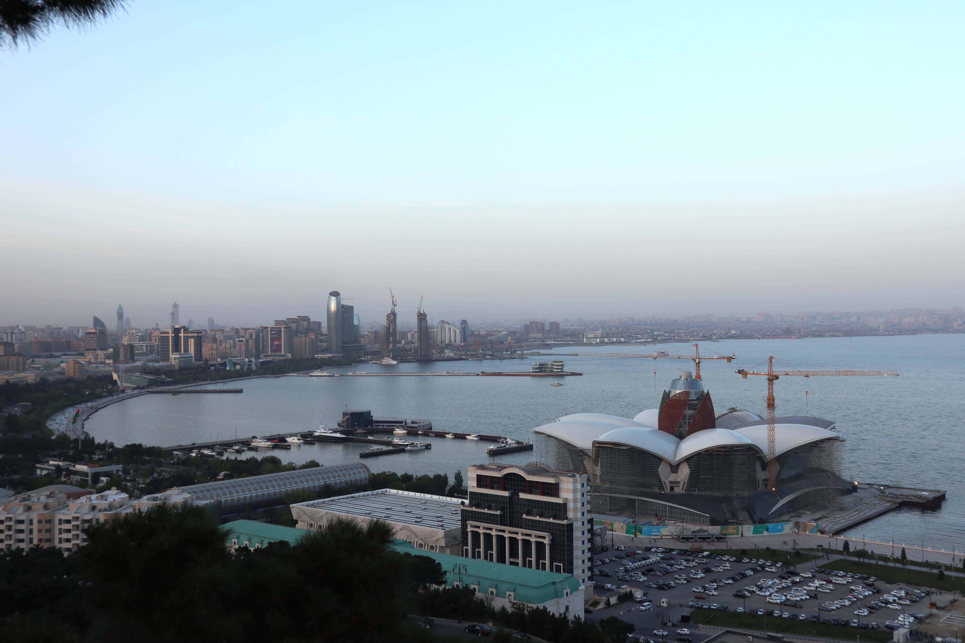 A hilltop view of the Caspian Sea and Baku's shoreline.