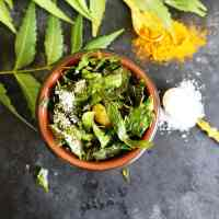 Neem Narkel Bhaja | Crispy Neem with Coconut