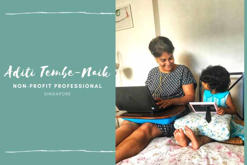 Aditi Tembe Naik with her work buddy (copyright image) - From The Corner Table (the blog)