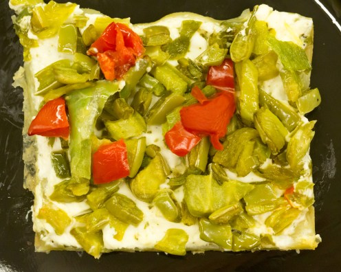 Single serving of the nopales and green chile tart