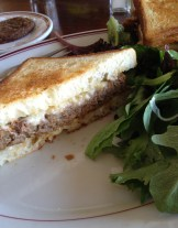 Gruyere and meatloaf sandwich