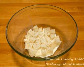 Bread soaking in milk