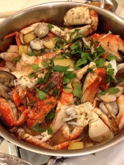 Fish stew is served
