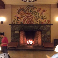 A blazing fire in the lobby of the Ahwahnee Hotel