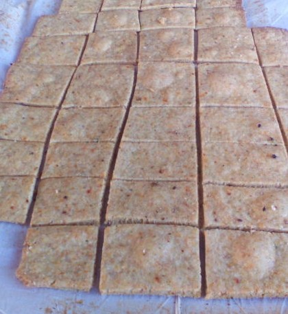 Homemade vegetable thins just out of the oven