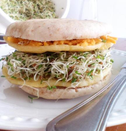 """Egg"" patties topped with sprouts"