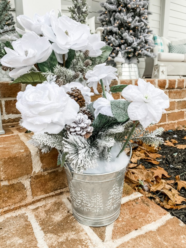 White Christmas Flowers in a silver tin