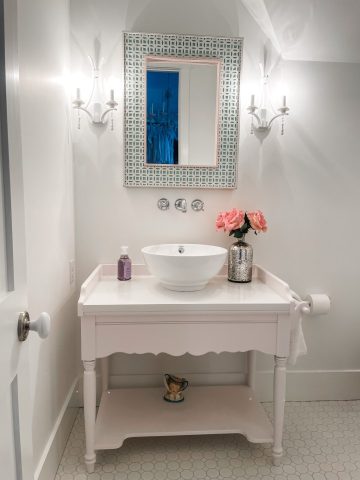 bathroom vanity in pink