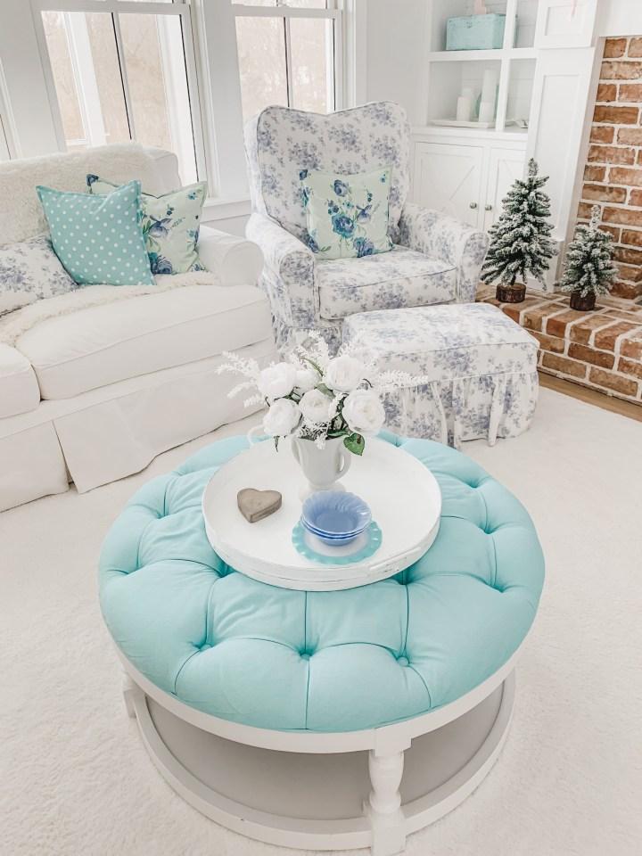 blue coffee table ottoman