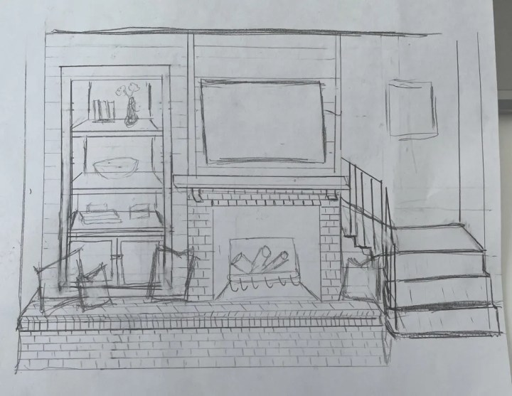 Sketch of living room fire place From the HartLand LLC