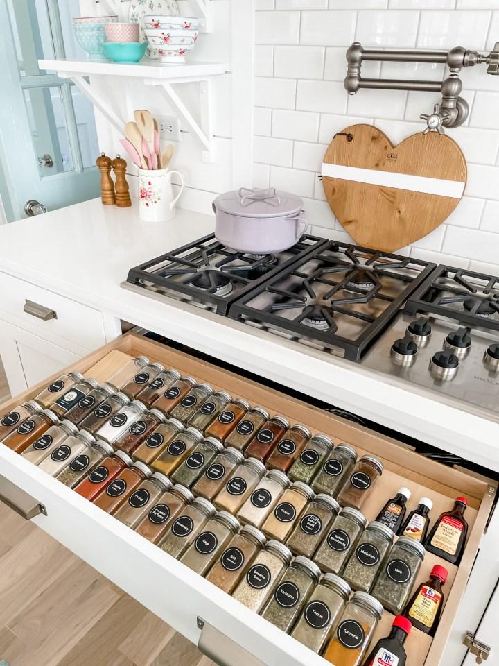 spice drawer under the range