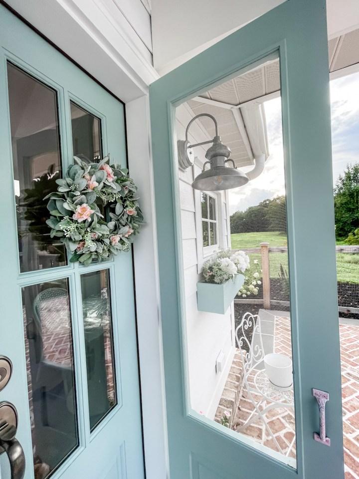 Pool house blue doors