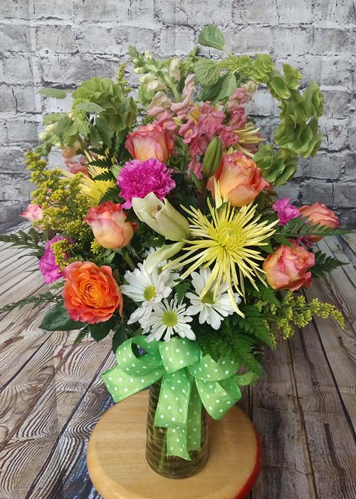 Roses Carnations Lilies Bouquet in Vase