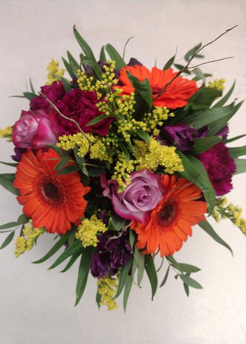gerberas, roses, carnations and fillers
