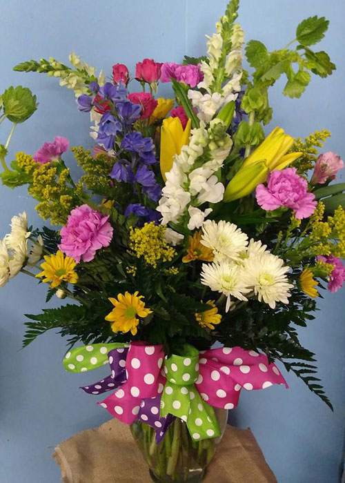 Springtime Sunrise Mixed Floral Vase