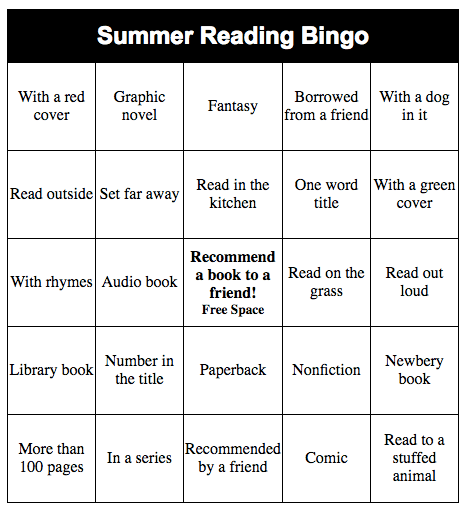 Make your own Summer Reading Bingo game