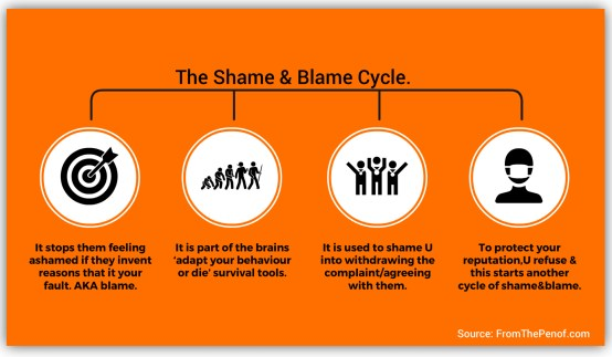 shame and blame infograph red flag professional behaviour