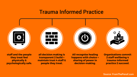 trauma informed practice infograph from the pen of