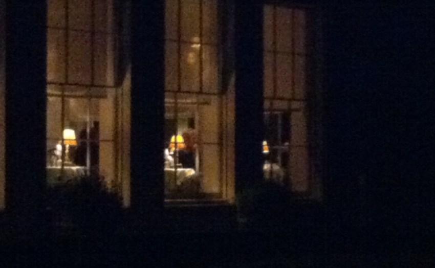 Babington house at night
