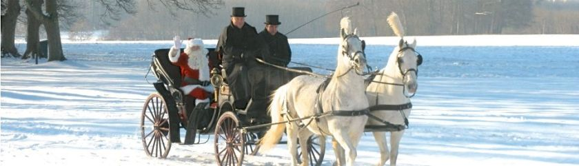 Lucknam Park, a luxury hotel near Bath, has a wonderful Christmas package including the arrival of Sana Claus in a horse carriage.