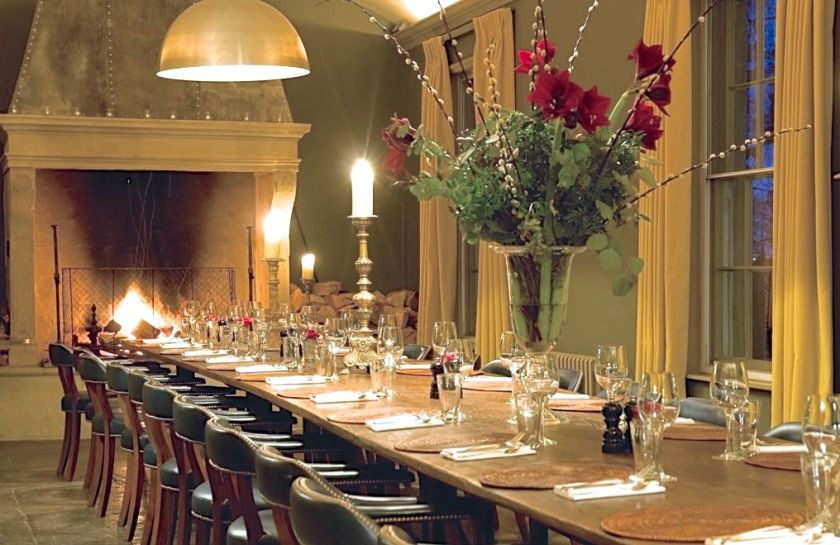 Babington House, boutique hotel in Somerset, Christmas in the log room