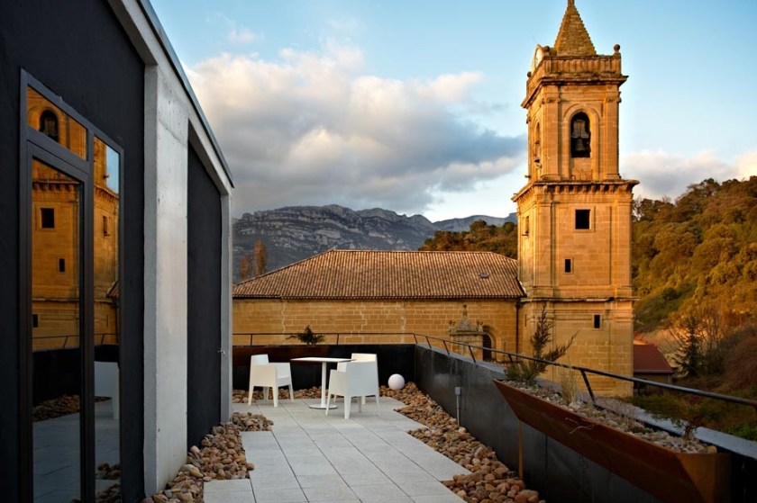 Hotel Viura, in the Basque country, Spain. Modern building in the mdiddle of a charming village.
