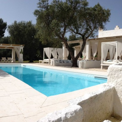 After my selection of Puglia hotels with pool, I thought you might want to see a villa rental.  I happened to have kept one in my files: Masseria Scorcialupi.