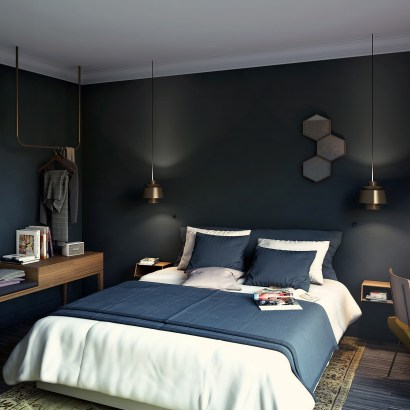 Hotel Coq Paris, recently opened in the 13th arrondissement. Good prices (start at 103 Euros a night) and a dark seducive atmosphere. This is one of their double bedrooms all in blue. Click through to view more images.