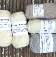 £15 for all - British Breeds Yarns 100% Blue Face Leicester DK(3 Natural, 1 grey, 1 beige)