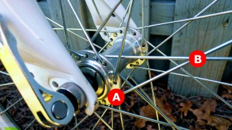 "A) Hub: this is the big thing in the very center of your wheel that holds the axle and attaches the other end of the spokes. If you have a quick release wheel, this is where the skewer will pass through. It also has bearings that determine the base resistance on the wheel. B) Spokes: These connect the hub to the rim and help to keep the wheel ""true"" aka a circle and not a lopsided oval."