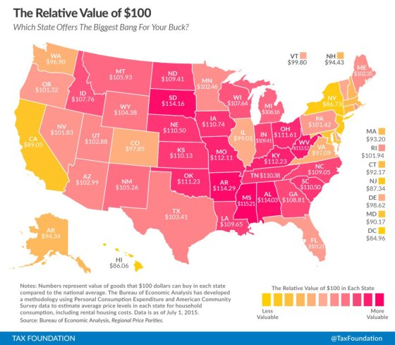 This Map Shows What $100 Is Actually Worth in Your State (Video)