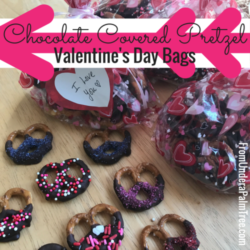 Chocolate Covered Pretzel Valentines Treat Bags by From Under a Palm Tree