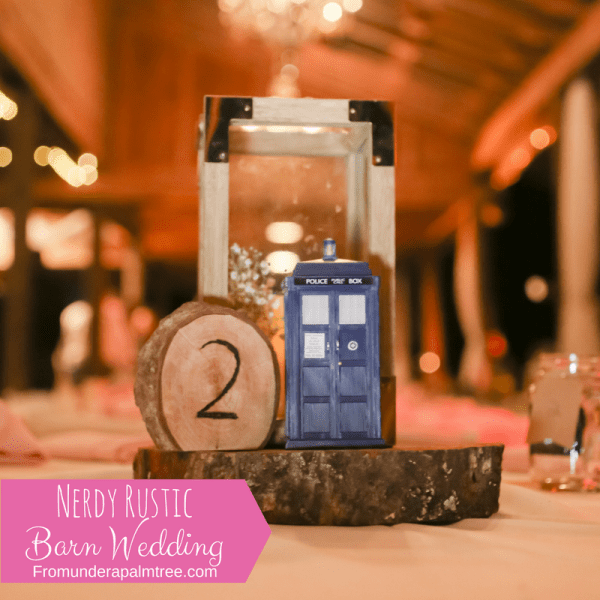 Nerdy Rustic Barn Wedding | Doctor Who | Tardis | Table Centerpiece | Reception | Wedding | Rustic Wedding | Woodland Wedding | Old McMickey's Farm | The Barn at Crescent Lake | wedding ideas | Centerpieces | Decorations | Wood slices | Nerdy wedding | Rustic | Big Day | Harry Potter | Supernatural | Starwars | Lord of The Rings | outdoor | barn wedding | Barn bride |