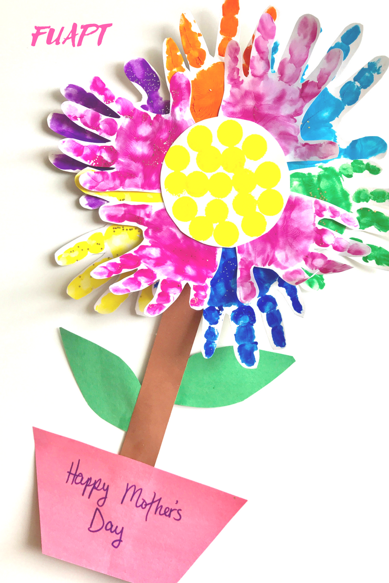 Paper Plate Handprint Mother's Day Card by From Under a Palm Tree