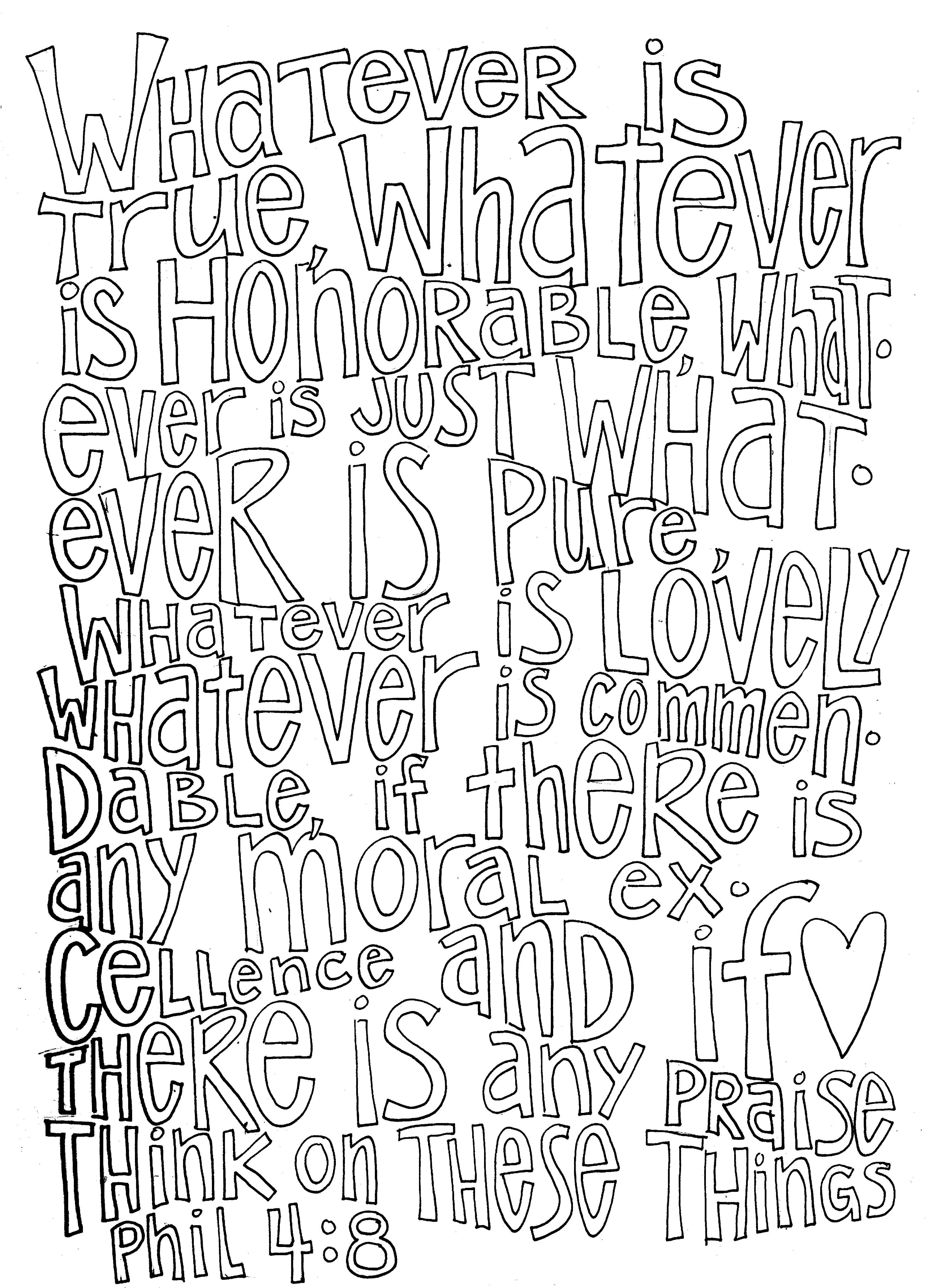 Think On These Things Philippians 4 8 Coloring Page