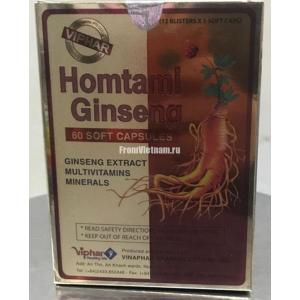 Homtami Ginseng Multivitamins комплекс на основе женьшеня 60капсул