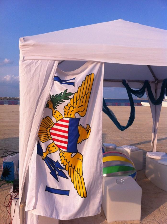Caribbean beach party. USVI Flag